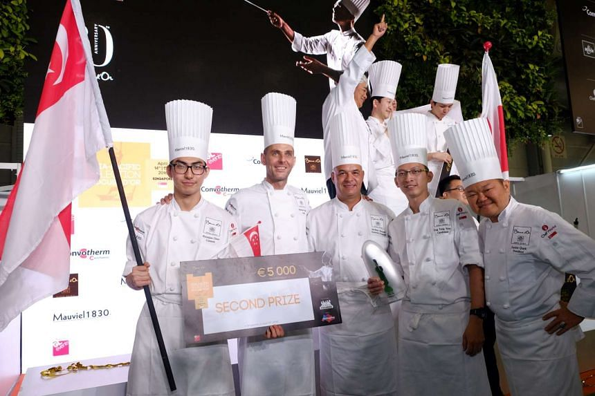 Team Singapore at the Bocuse d'Or Asia-Pacific Selections: (from left) Commis chef Choo Hyunjun, team coach Michael Muller, honorary president Jerome Bocuse, chef Yew Eng Tong and judge Justin Quek.