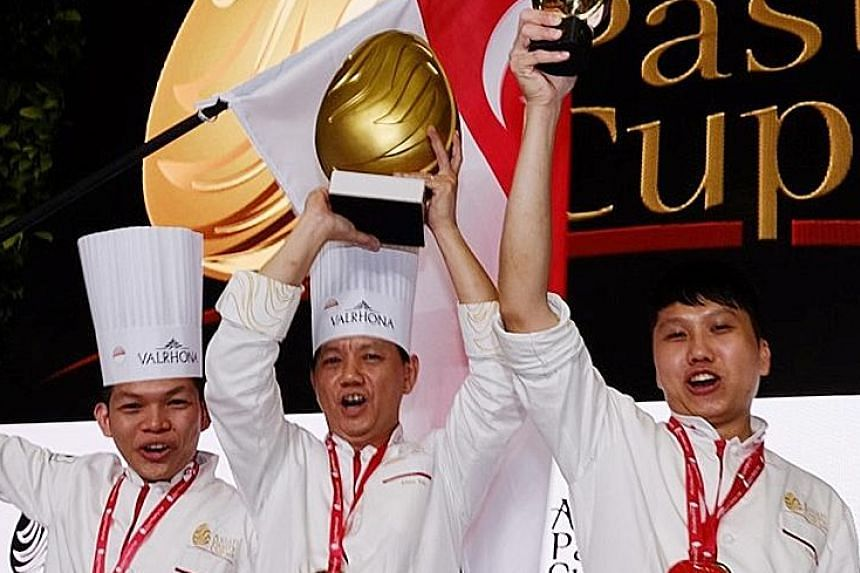 The Singapore team comprise (from left) chefs Desmond Lee, Alex Yen and Pang Yun Kian.