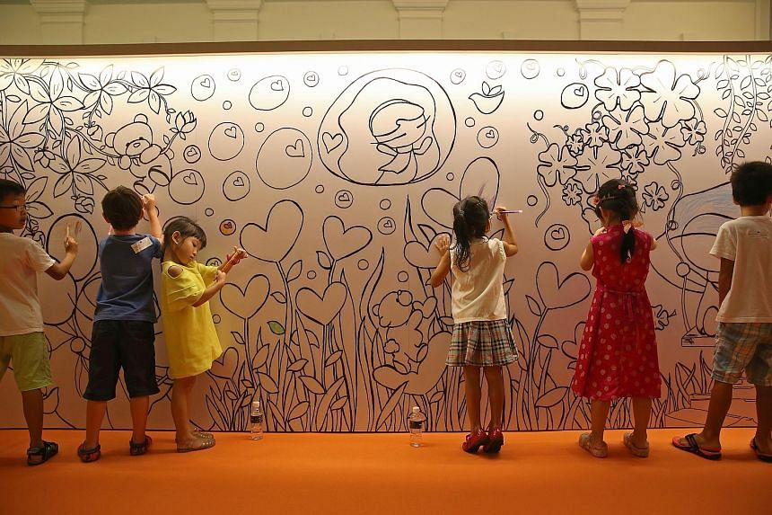 Children playing at an art installation at the National Museum, which was among the many activities in the Children's Season 2015. This year, 55 pre-schools will offer NAC and ECDA's arts education programme