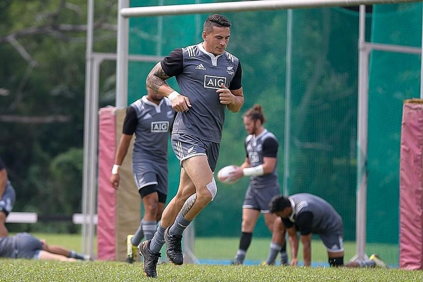 Sonny Bill Williams at an All Blacks training session ahead of the Singapore Sevens this weekend at the National Stadium.