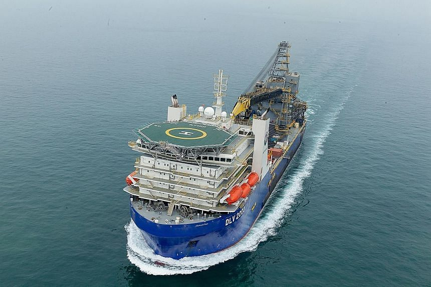 McDermott's DLV 2000 is designed to lay out pipes to retrieve oil in offshore environments, can work in both deep and shallow water and has a 4,000 sq m deck, almost the size of a football field.