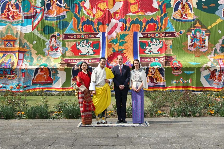 From left: Bhutan's King and Queen pose with Britain's Duke and Duchess of Cambridge at the Tashichho Dzong in Thimphu, Bhutan, on April 14, 2016.