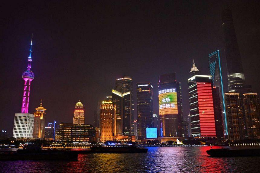 The night skyline of the Bund in Shanghai.