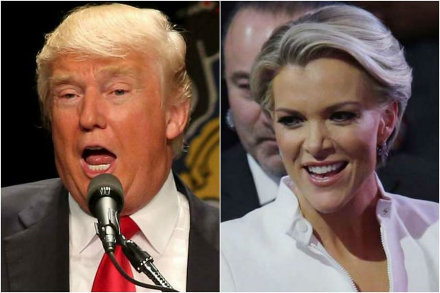 Republican presidential candidate Donald Trump (left) and Ms Megyn Kelly, a Fox News anchor.