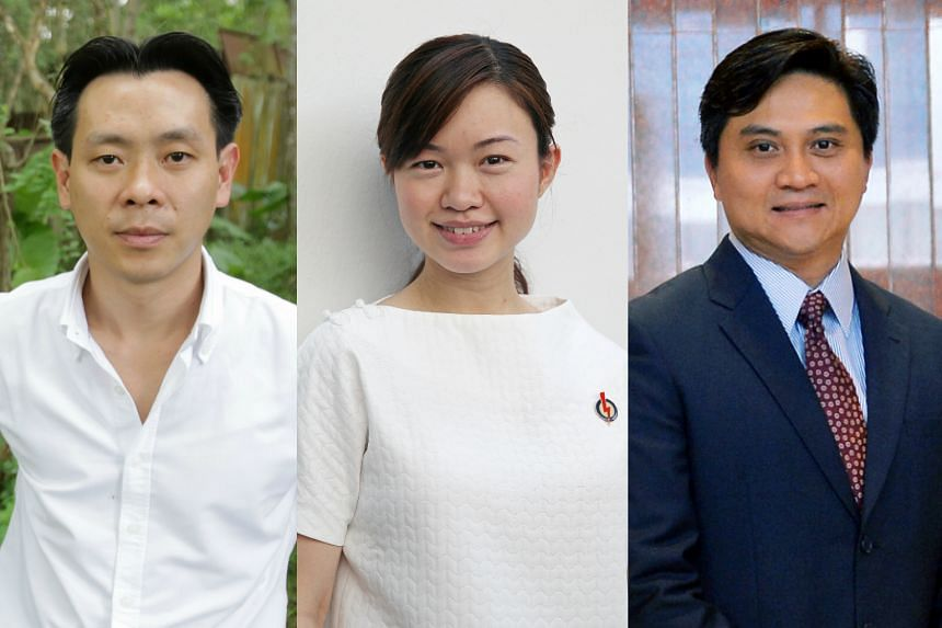 (From left) MPs Louis Ng, Tin Pei Ling and Saktiandi Supaat.
