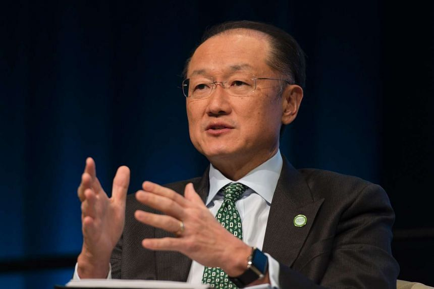 World Bank Group president Jim Yong Kim taking part in a discussion on Turning The Paris Climate Agreement Into Action, in Washington, DC on April 14, 2016.