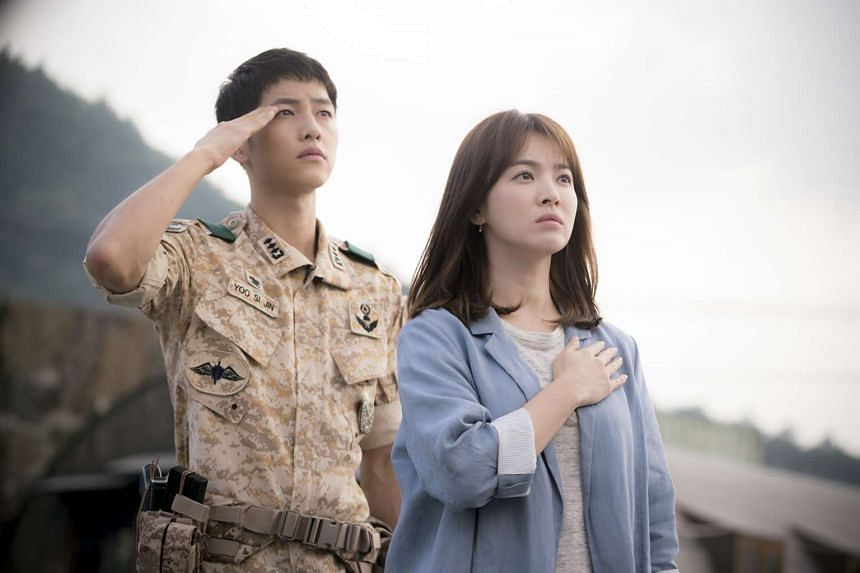 Television still of Descendants Of The Sun, starring Song Hye Kyo and Song Joong Ki.