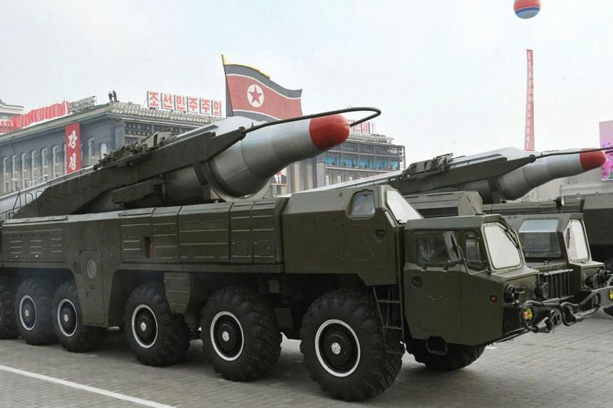 A file photo dated October 2010 and made available by the North Korean Central News Agency showing a 'Musudan' missile displayed during a military parade marking the 65th anniversary of the foundation of the Workers' Party of Korea, in Pyongyang, Nor