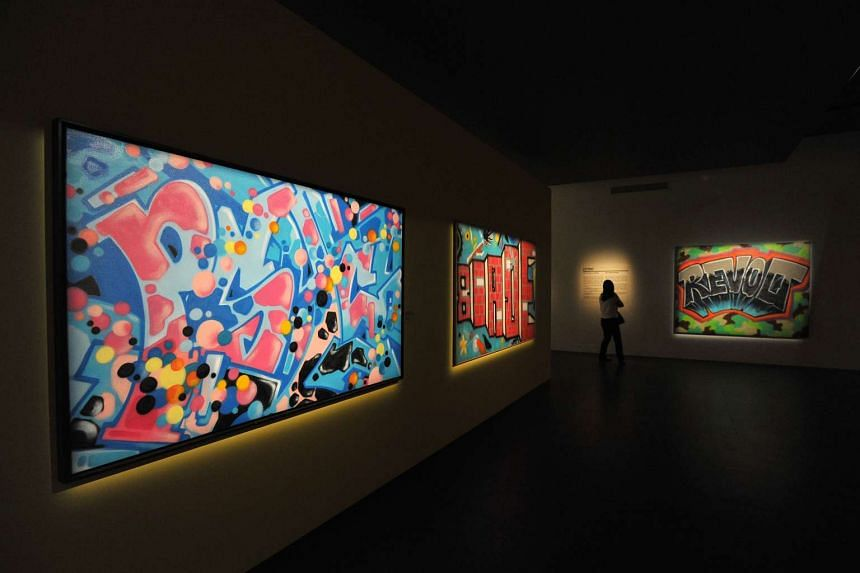 The exhibition Pressionism: Graffiti Masterpieces on Canvas inside The Features Gallery at Singapore Pinacotheque de Paris on April 9, 2016.