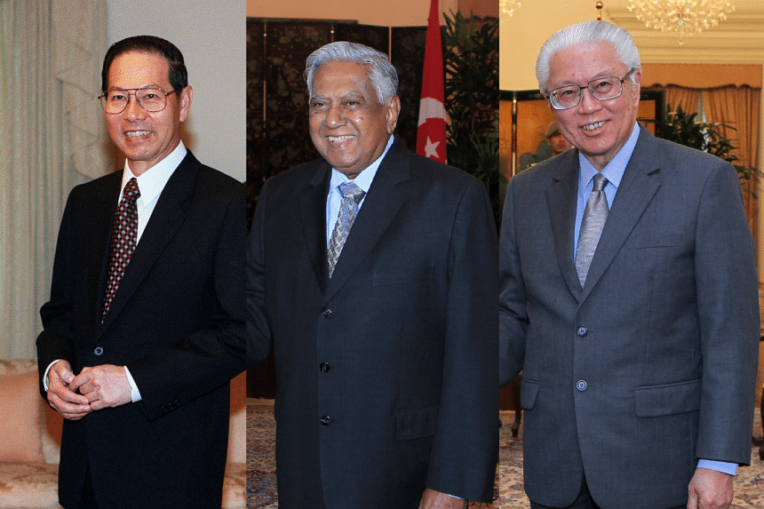 (From left) Mr Ong Teng Cheong was the first Elected President, followed by Mr S R Nathan and Dr Tony Tan Keng Yam.