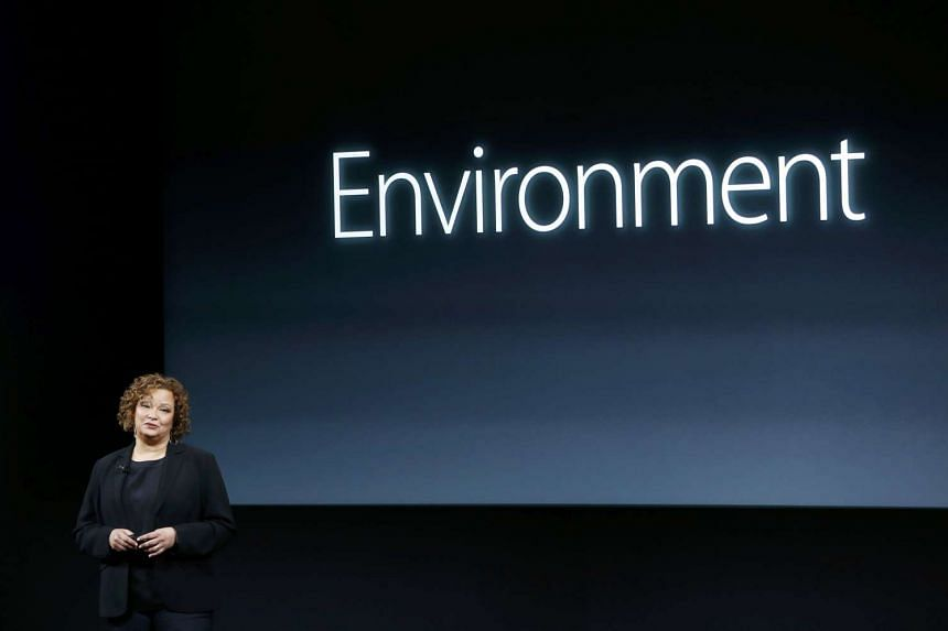 Lisa Jackson, Apple vice president for Environment, Policy and Social Initiatives, speaks at Apple headquarters in Cupertino, California.