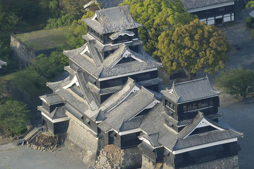 Damage to Kumamoto Castle caused by an earthquake is seen in Kumamoto, southern Japan, in this photo taken by Kyodo on April 15, 2016.