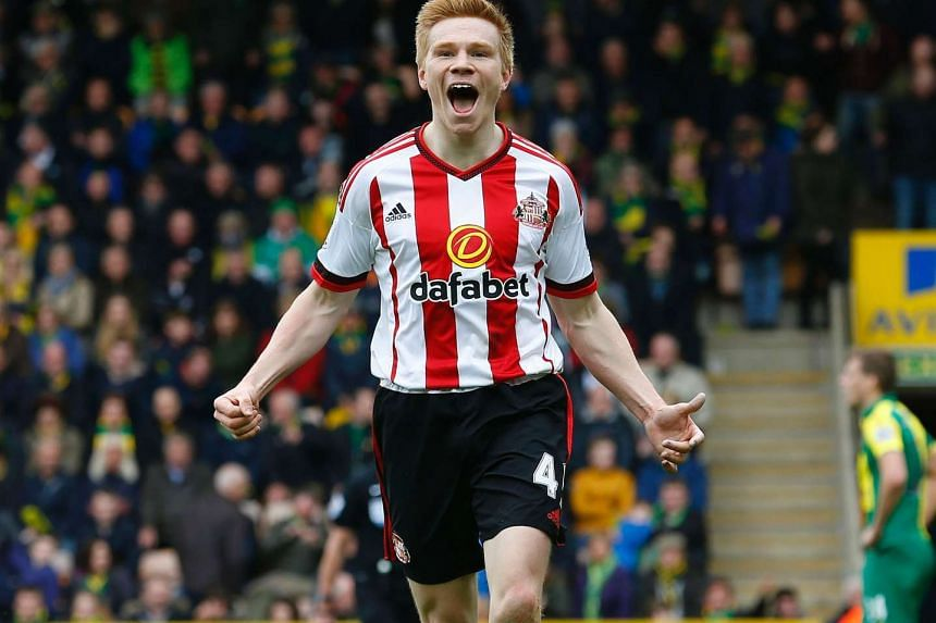 Sunderland's Duncan Watmore celebrating after scoring against Norwich City at Carrow Road.