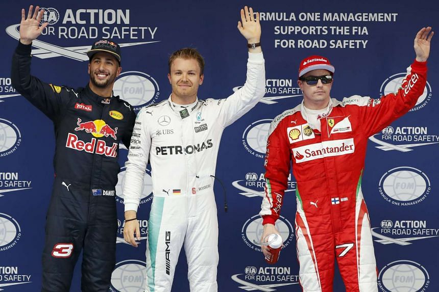(From left to right) Red Bull driver Daniel Ricciardo, Mercedes driver Nico Rosberg and Ferrari driver Kimi Raikkonen after the qualifying session for the Chinese Grand Prix.
