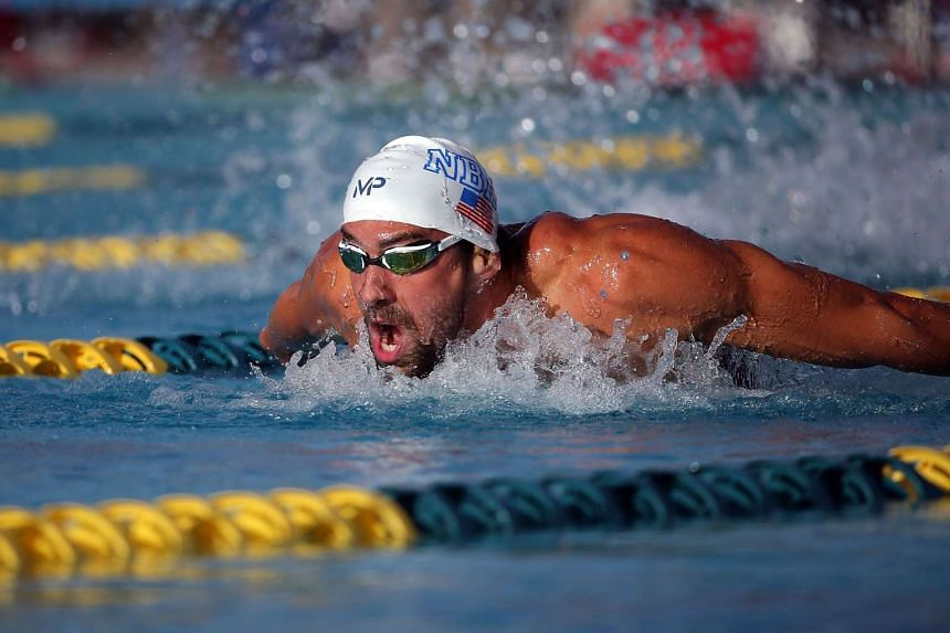 Michael Phelps competes in the men's 200m butterfly final at the Skyline Aquatic Center on April 15, 2016 in Mesa, Arizona.