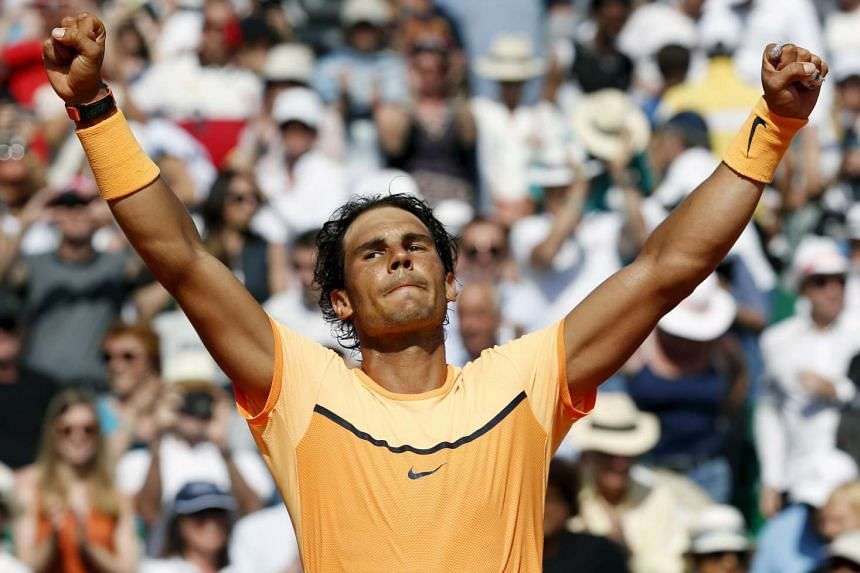 Rafael Nadal reacts after winning his match against Andy Murray.