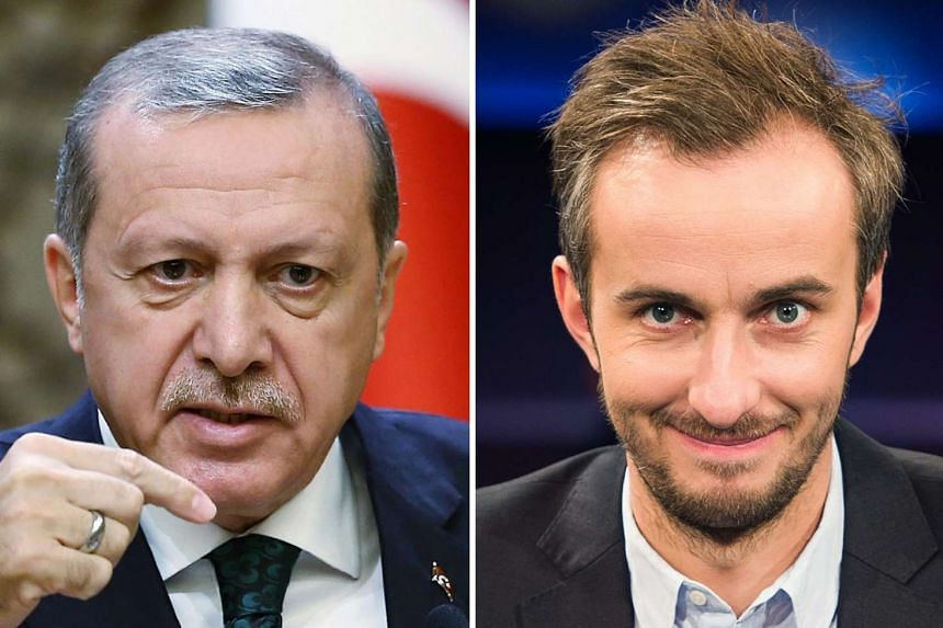 A composite image of two file photos from 2015 of Turkish Prime Minister Recep Tayyip Erdogan (left) and of German ZDF Neo host Jan Boehmermann.