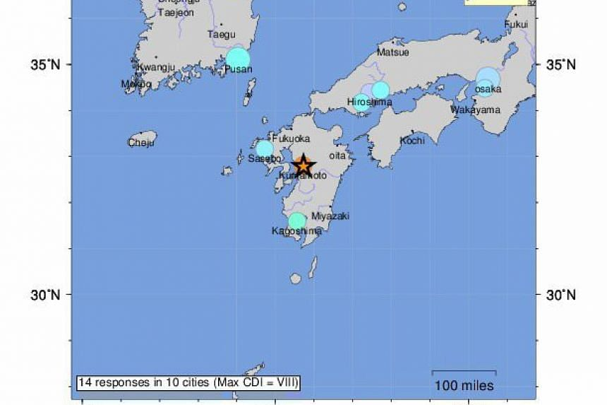 A handout shakemap provided by the US Geological Survey (USGS) on 15 April 2016 of a 7.1 magnitude earthquake (indicated by a star, C) detected in Kumamoto prefecture, southern Japan, on April 15, 2016.