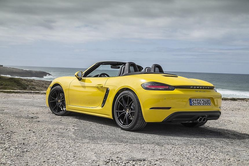The revised Boxster, powered by a four-cylinder, sports new body panels and more pronounced creases. The 718 Boxster pays homage to the mid-engined 718 sports car which won Porsche many trophies in the 1950s and 1960s.