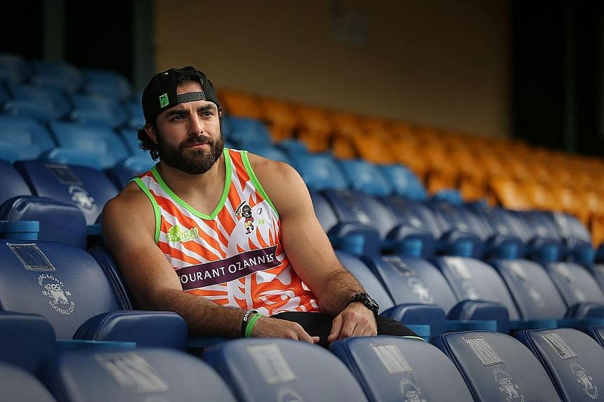 The American Nate Ebner, a former National Football League star, is one of the big names at the Singapore Rugby Sevens.