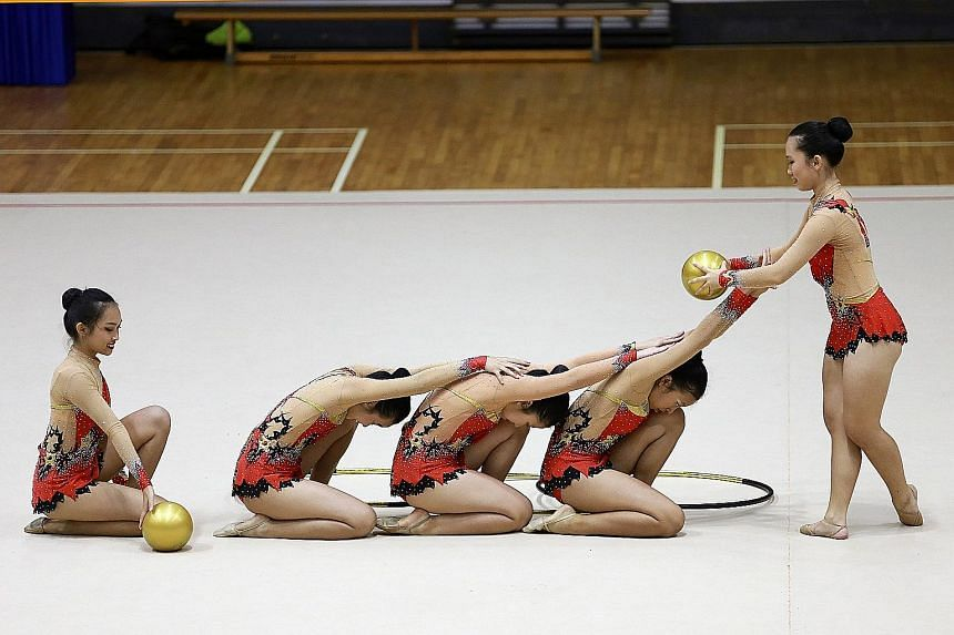 Raffles Girls' School (Secondary) performing during the B Division group event of the 2016 National School Games Rhythmic Gymnastics Championships. RGS came in first place, followed by CHIJ Secondary (Toa Payoh) in second and St Margaret's Secondary