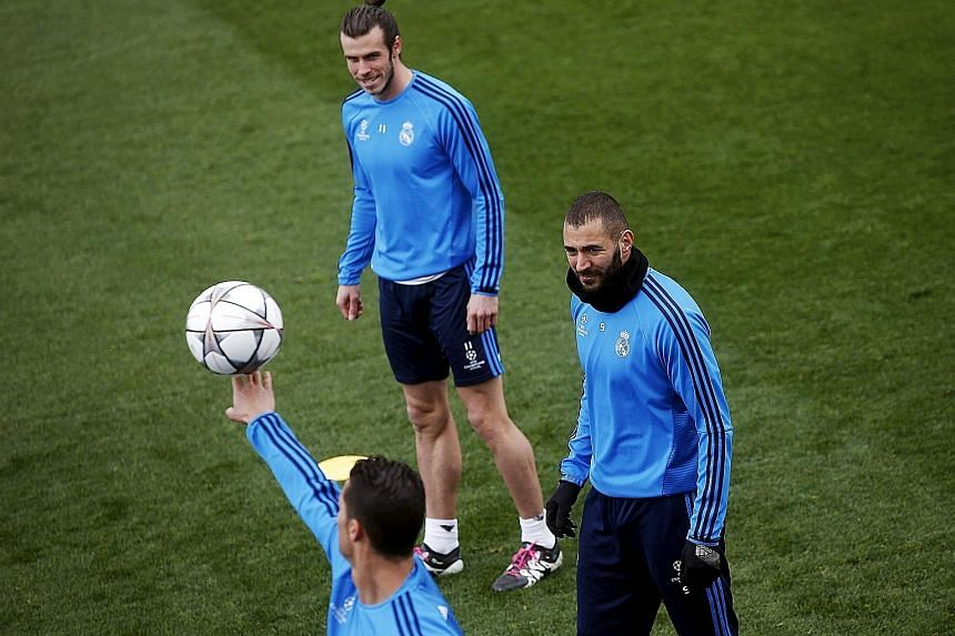 Manchester City will have Real Madrid's lethal front trio - (clockwise from bottom) Cristiano Ronaldo, Gareth Bale and Karim Benzema - to contend with. Ronaldo is one strike away from equalling his single-season Champions League record of 17 goals se