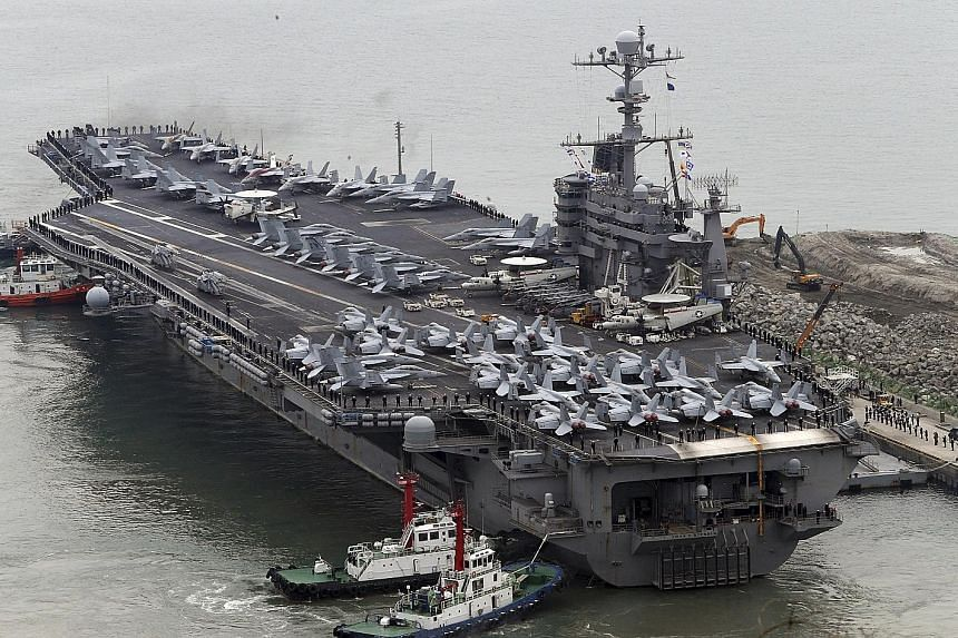 The Nimitz-class aircraft carrier USS John C. Stennis at Busan port in South Korea last month. It is currently on routine patrol in the South China Sea.