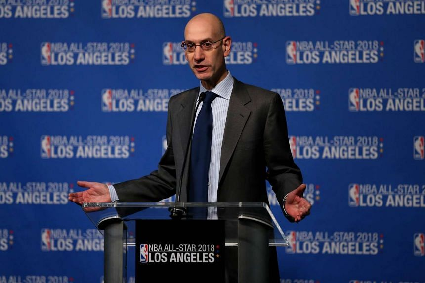 Adam Silver, NBA commissioner, announces that the 2018 NBA All-Star game will be held in Los Angeles at Staples Center.