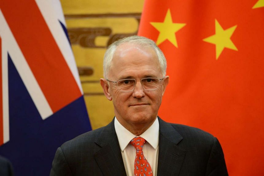 Australian Prime Minister Malcolm Turnbull attending a signing ceremony with Chinese Premier Li Keqiang (not pictured) at the Great Hall of the People in Beijing on April 14, 2016.