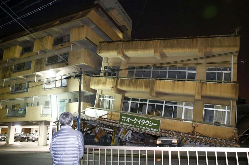 A damaged building caused by an earthquake is seen in Kumamoto, southern Japan, in this photo taken by Kyodo, on April 16, 2016.