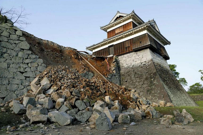 A damaged stone wall caused by an earthquake at the Kumamoto Castle on April 15, 2016.