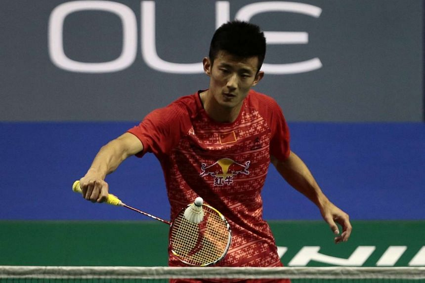 Current men's world no. 1 Chen Long of China in action against Angus Ng of Hong Kong (not pictured) during their men's singles quarter final match of the OUE Singapore Open badminton tournament held at the indoor stadium in Singapore, on April 15, 20