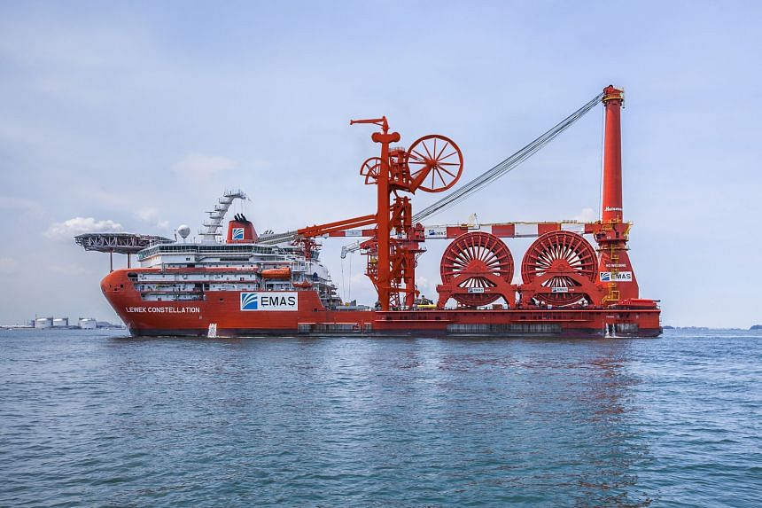 Emas AMC's $600 million flagship vessel Lewek Constellation. Chiyoda Corp's 50 per cent acquisition of Emas AMC has put Ezra in a better position to secure larger contracts with a strong partner, says Ezra's group CEO.