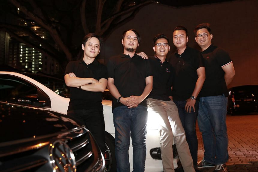 The Jocky team is made up of (from far left): head of design Roy Ho, 32; chief technical officer Adrian Tee, 33; CEO Bernard Lim, 31; head of partnerships Louis Kok, 29; and head of operations Tommy Tan, 30. The start-up has created a mobile app for drive