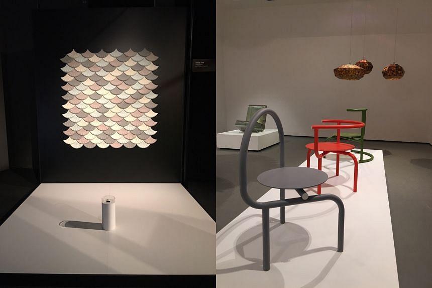 Studio Juju's Unfamiliar seat series (right) and Hans Tan's Leo Cycloid Tessella installation (left).