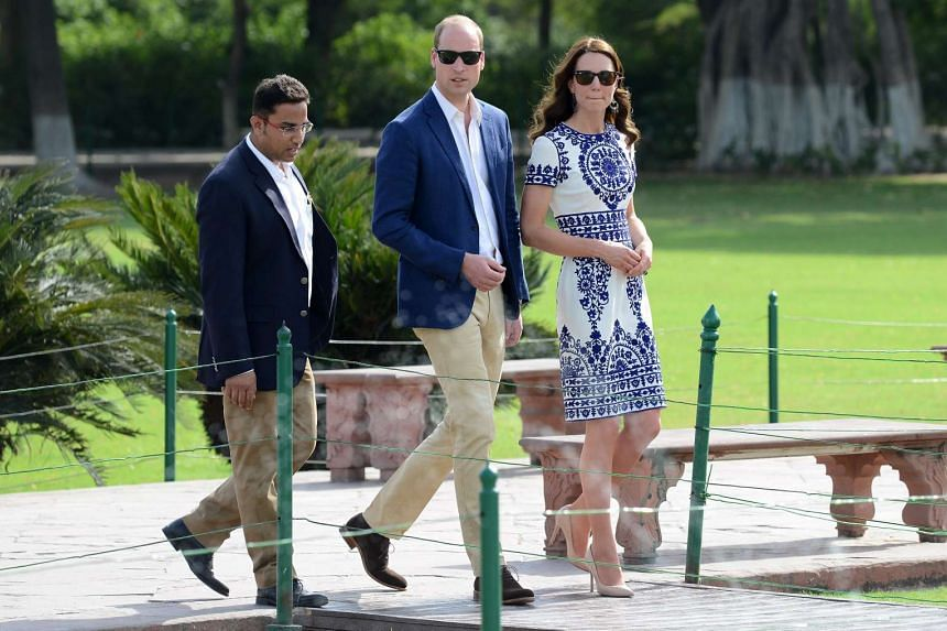 Britain's Prince William, Duke of Cambridge and Catherine, Duchess of Cambridge during their visit to The Taj Mahal in Agra, India, on April 16, 2016.