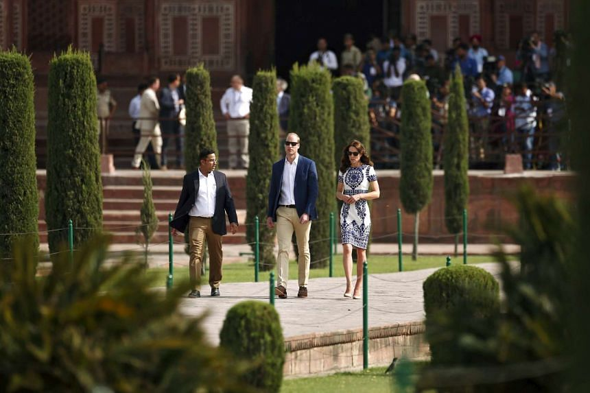 Britain's Prince William and his wife Catherine, the Duchess of Cambridge, at the Taj Mahal in Agra, India, on April 16, 2016.