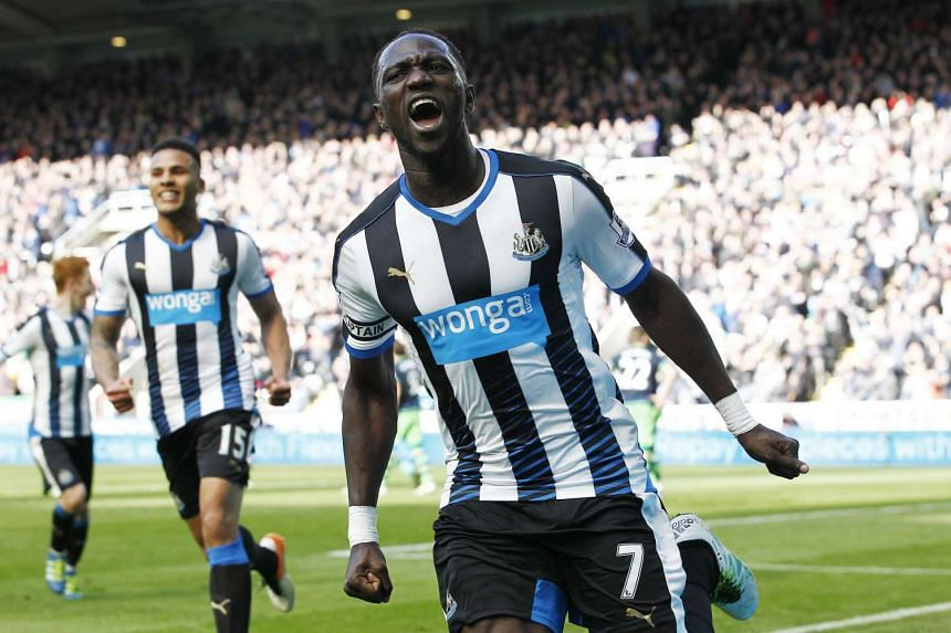 Moussa Sissoko celebrates scoring the second goal for Newcastle United at St James' Park on April 16, 2016.