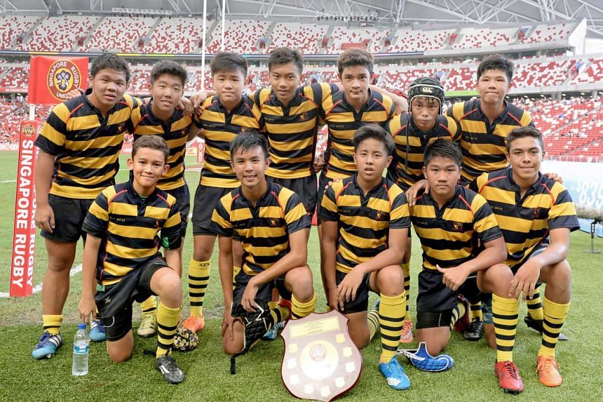Anglo-Chinese School (Independent) (above) beat Raffles Institution 14-12 in the inaugural Schools Sevens Under-14 final at the National Stadium on April 17, 2016.