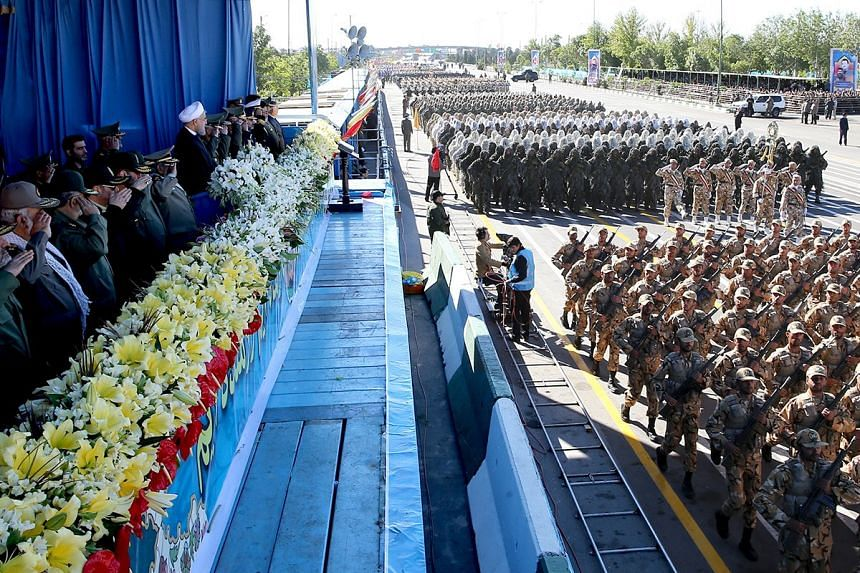 Iranian President Hassan Rouhani attends a military parade marking National Army Day in Teheran, Iran on April 17, 2016.