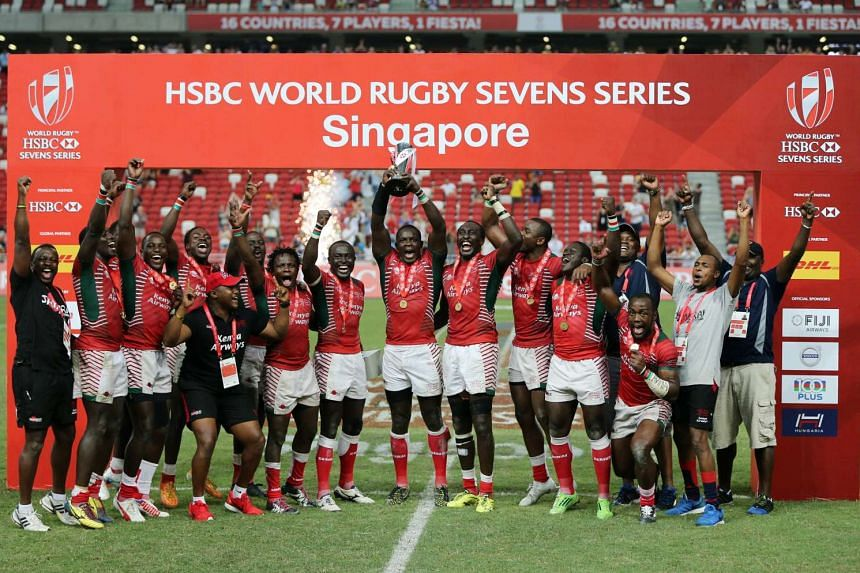 Kenya players celebrating after they won the HSBC Singapore Sevens title on April 17, 2016.