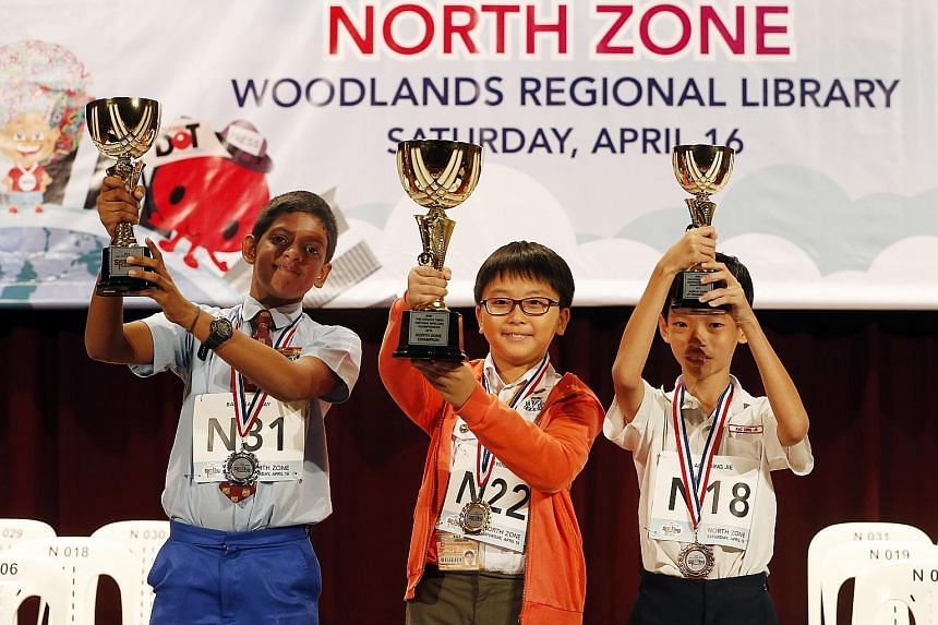 Winners from the north zone quiz are (from left): Rivervale Primary's Babu Sanjaay in second place, Catholic High's Ho Wing Yip in first and Rosyth's Ang Ding Jie in third.