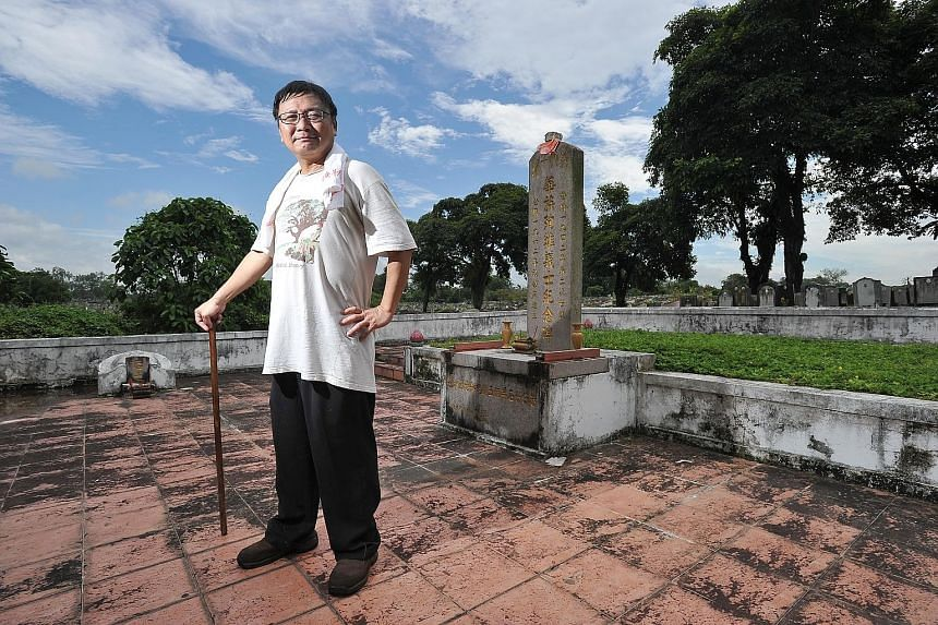 """Mr Goh, a tomb researcher who found the memorial, worries that this and the remains of significant pioneers """"will be gone for good"""", as many of the tombs do not appear to have been visited in years. (Centre) A master grave for the remains from the no"""