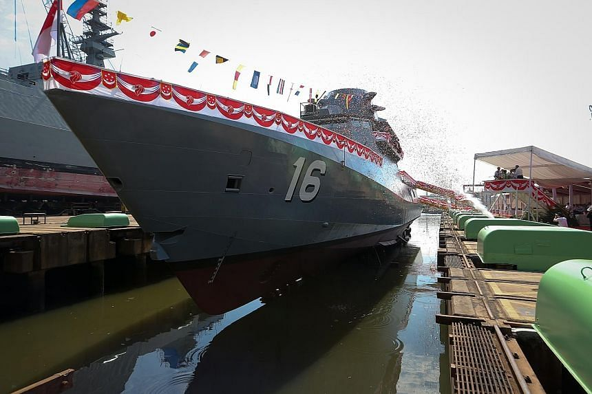 The LMV Sovereignty at Singapore Technologies Marine's Benoi Yard yesterday. The new warship is 80m long, powered by four engines and can hit top speeds in excess of 27 knots and sail up to 3,500 nautical miles. It will now have combat systems instal
