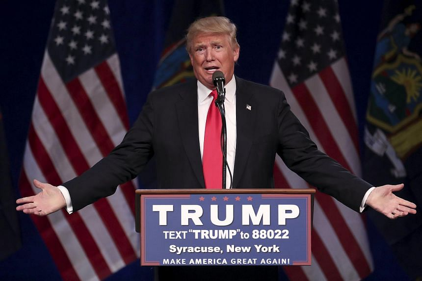 US Republican presidential candidate Donald Trump speaks at a campaign rally in Syracuse, New York.