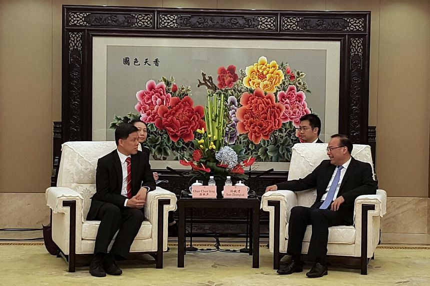 Mr Chan Chun Sing, Minister in the Prime Minister's Office, meeting with Chongqing party secretary Sun Zhengcai in the municipality, on April 15.