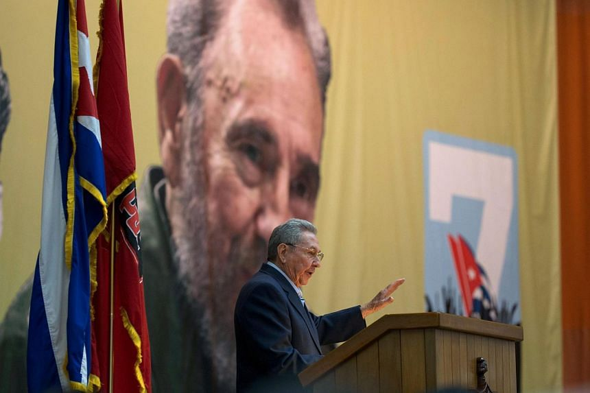 President Raul Castro giving a speech during the opening of VII Congress of Cuban Communist Party, in Havana, on April 16, 2016.