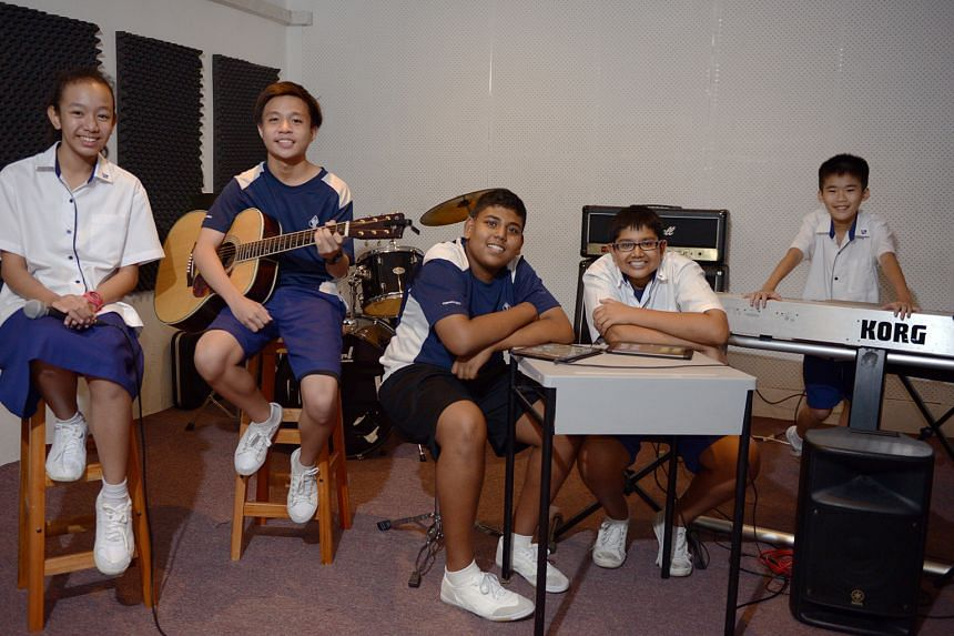 JAMMING... Yishun Secondary School students get to form bands to jam, practise and perform music, as part of their school's Sonic Arts (music, media and technology) Applied Learning Programme.