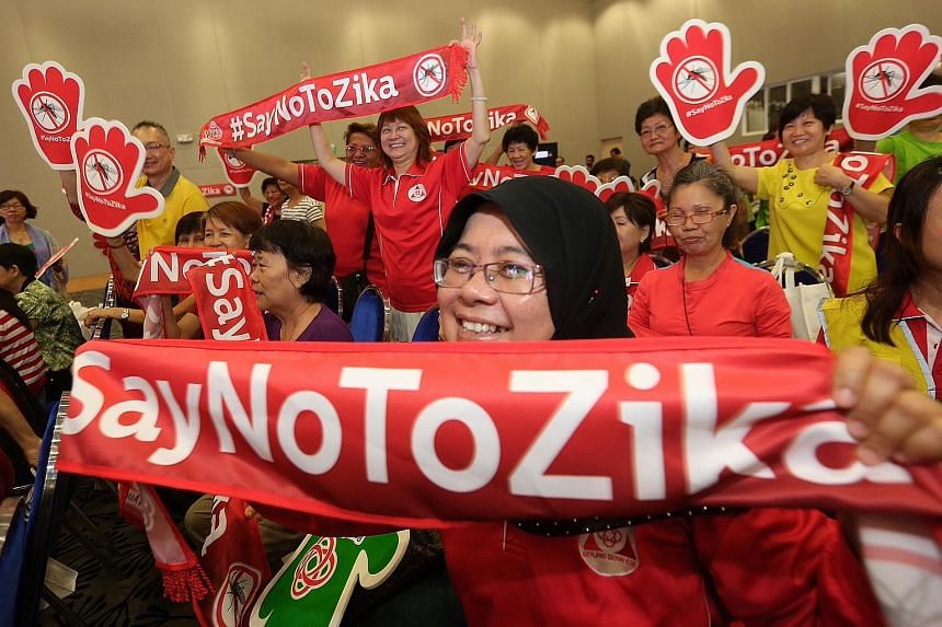 The People's Association organised a community outreach session for the first time to teach Singaporeans about Zika held at ITE College Central on April 17, 2016.