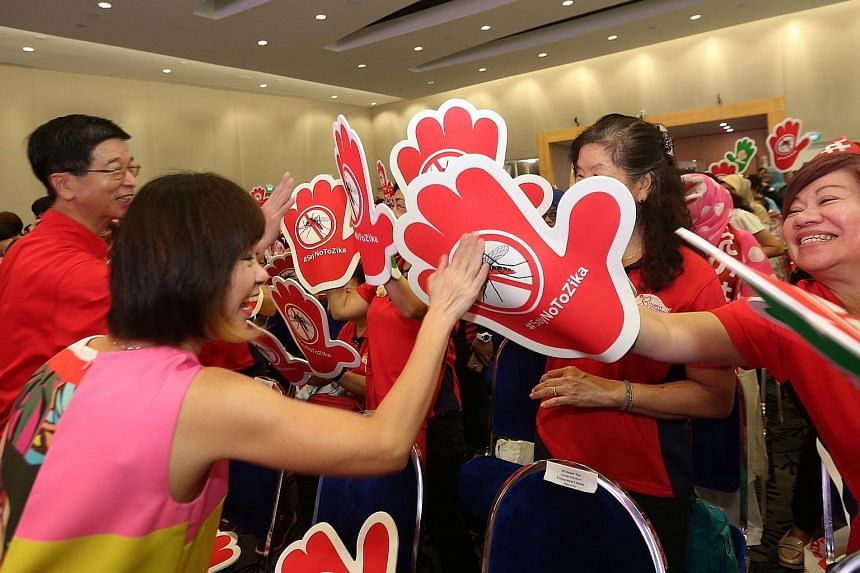 The People's Association organised a community outreach session to teach Singaporeans about Zika. Senior Minister of State for Health Amy Khor (left) was the guest-of-honour.